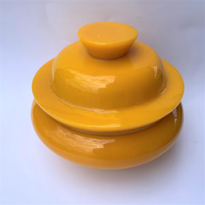 Resin bowl yellow with fitting lid large top