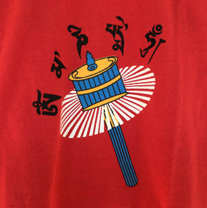 Children's T-Shirt Mani Prayer Wheel Red close up