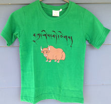 Load image into Gallery viewer, Children's T-Shirt tashi delek yak print green
