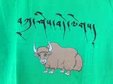 Load image into Gallery viewer, Children's T-Shirt tashi delek yak print green close up