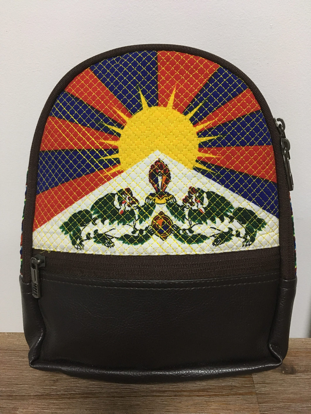 Tibetan Flag Children's Backpack Chocolate brown imitation leather