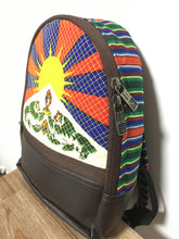 Load image into Gallery viewer, Tibetan Flag Children's Backpack Chocolate brown imitation leather side