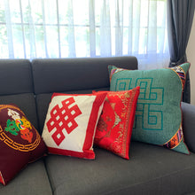 Load image into Gallery viewer, Cushion red with peacocks imitation silk lounge example