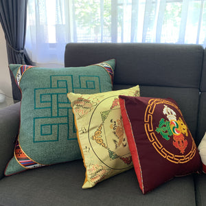 Cushion cover jute endless knot design large example