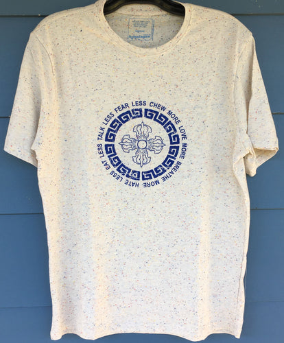 Blue Double Vajra Print on White Flecked T-Shirt