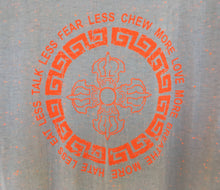 Load image into Gallery viewer, Orange double vajra print white flecked t-shirt close up