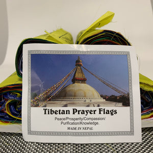 Extra large tibetan prayer flages side with sign