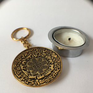 Key Chain: Golden OM round with Eight Auspicious Symbols back