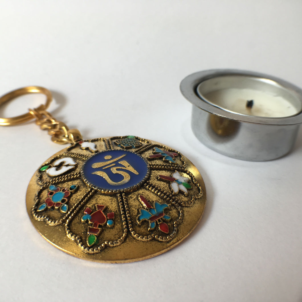 Key Chain: Golden OM round with Eight Auspicious Symbols
