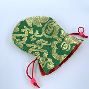 green brocade drawstring bag