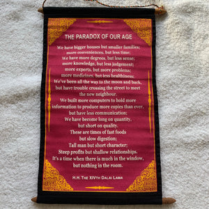 Wall Hanging Dalai Lama The Paradox of Our Age Quote