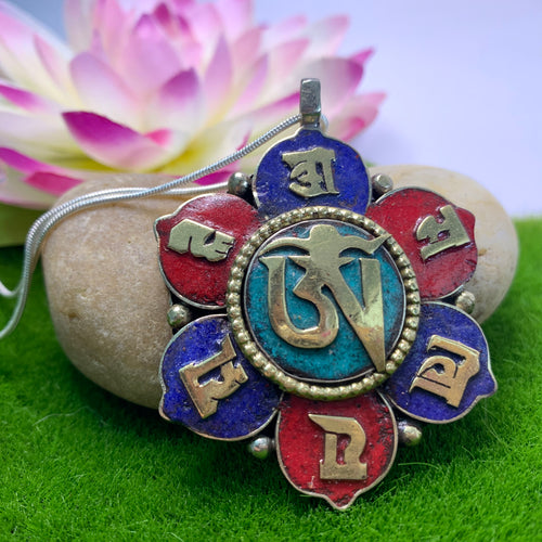 Flower Shaped Compassion Mantra Pendant