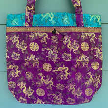 Load image into Gallery viewer, Tote Bag - Dragon & Shou Brocade ~ Purple