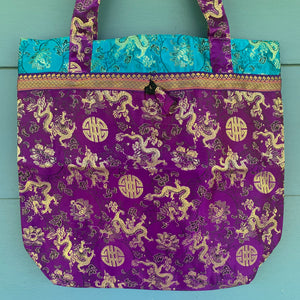 Tote Bag - Dragon & Shou Brocade ~ Purple