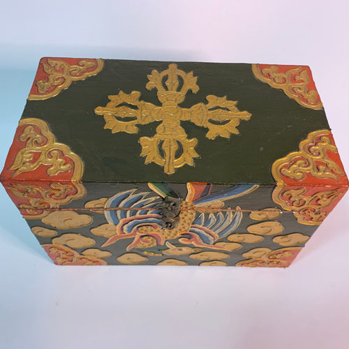 Tibetan Treasure Box Double Dorje Green