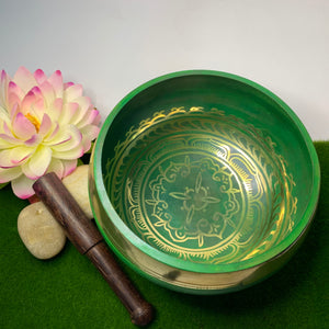 Green Handpainted  Singing Bowl