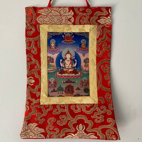 Mini Brocade Thangka - Chenrezig