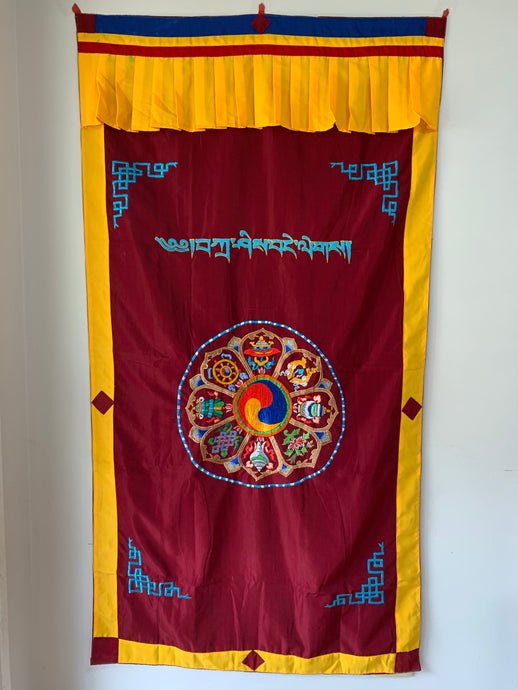 Door Curtain - 8 Auspicious Symbols - Silk