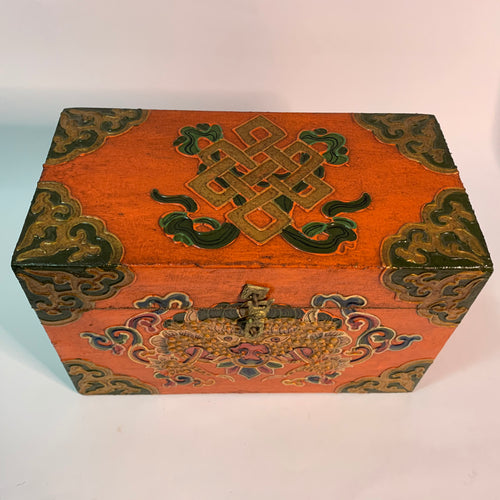 Tibetan Treasure Box Endless Knot Orange