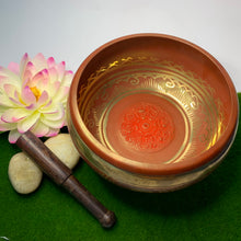 Load image into Gallery viewer, Maroon Eight Auspicious Symbols Singing Bowl