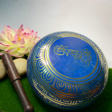 Load image into Gallery viewer, Blue Eight Auspicious Symbols Singing Bowl