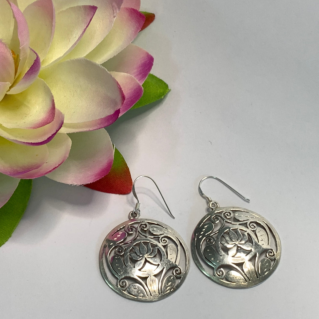 Round Lotus Earrings