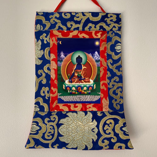 Mini Brocade Thangka - Medicine Buddha