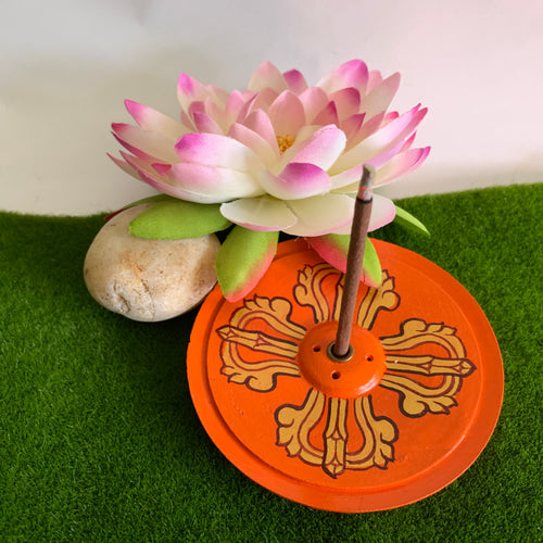 Double Vajra Incense Holder - Orange
