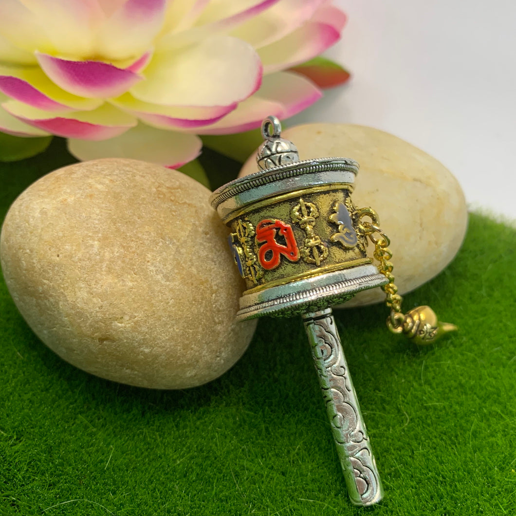 Tibetan Mani Prayer Wheel Pendant