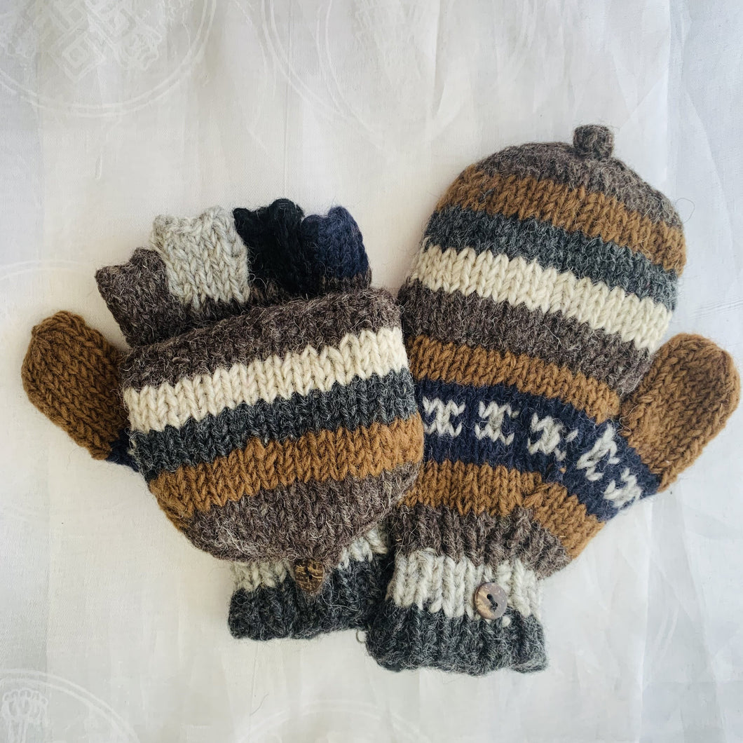 Convertible Woollen Gloves - Brown, Grey & Dark Blue