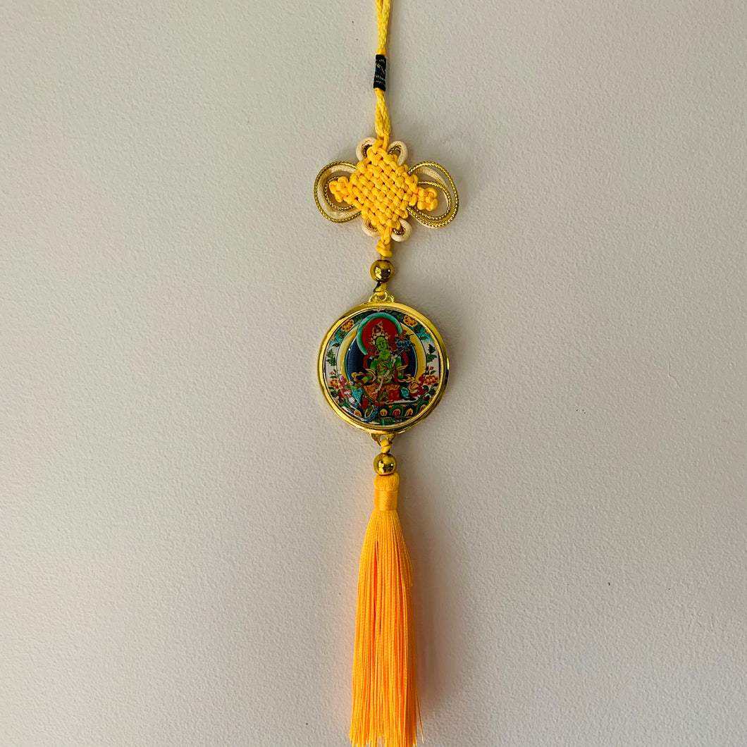 Green Tara Hanger - Yellow Tassel