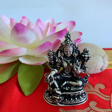 Load image into Gallery viewer, Green Tara Statue - Silver-plated