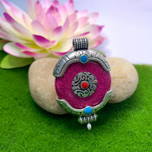 Load image into Gallery viewer, Round Amulet Pendant - Dark Purple