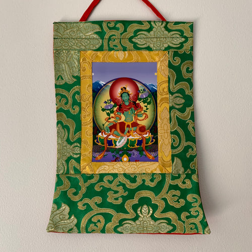 Mini Brocade Thangka - Green Tara