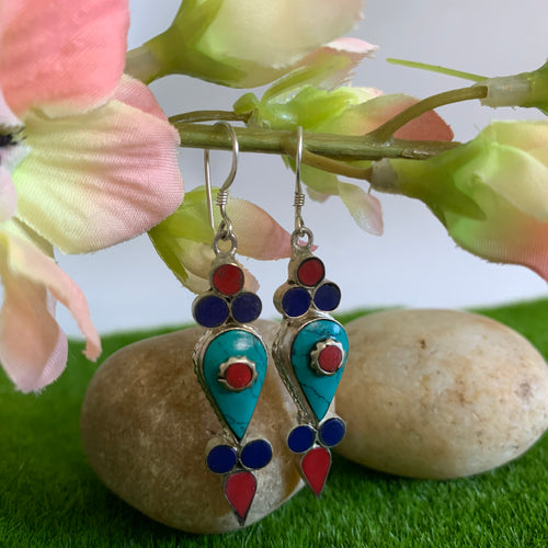 Tri-Coloured Stone Chipped Earrings