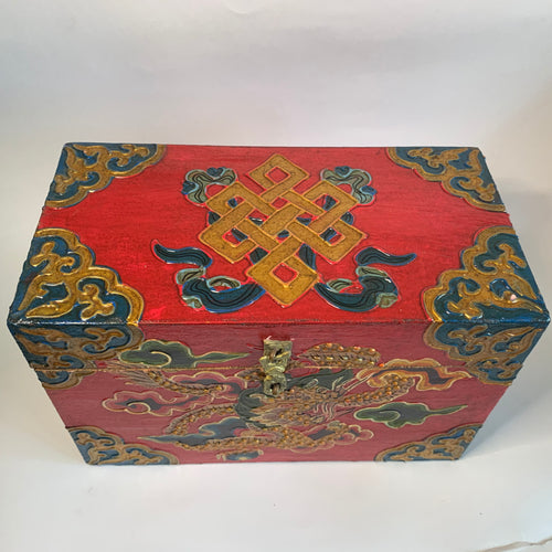 Tibetan Treasure Box Endless Knot Red