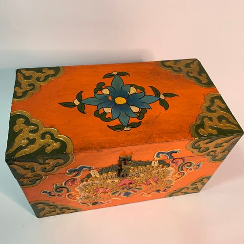 Tibetan Treasure Box - Flower Orange