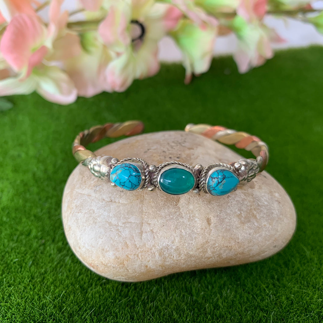 Three Metal & Precious Stone Bracelet