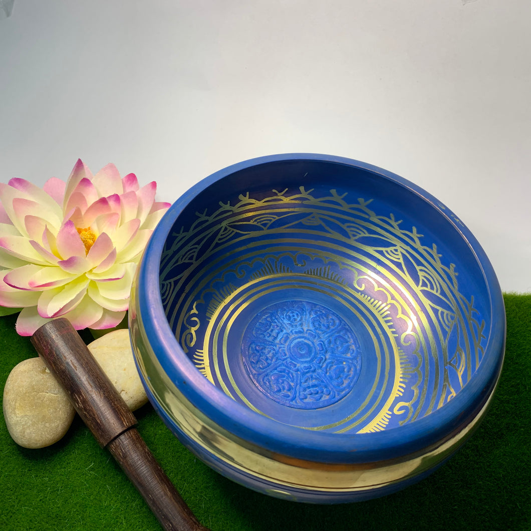 Blue Eight Auspicious Symbols Singing Bowl