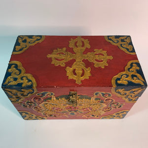 Tibetan Treasure Box Double Dorje Red