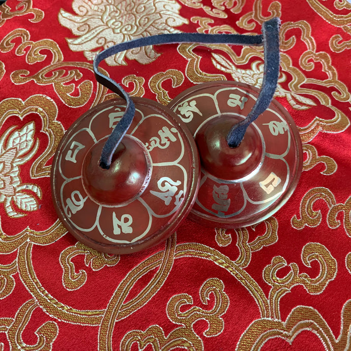 Meditation Cymbals- Mani Mantra Red