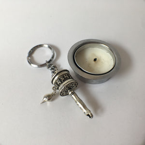Key Chain: Silver Mani Prayer wheel tea light candle scale