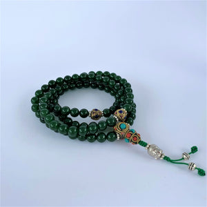 prayer beads mala jade stone 108 beads coiled