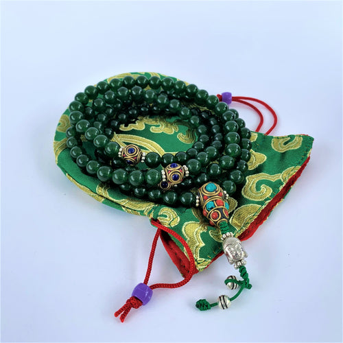 prayer beads mala jade stone 108 beads bag