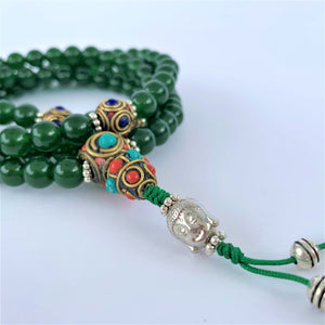 prayer beads mala jade stone 108 beads buddha bead