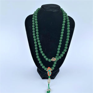 prayer beads mala jade stone 108 beads on bust