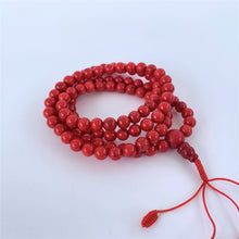 Load image into Gallery viewer, prayer beads mala 108 beads red coral coiled
