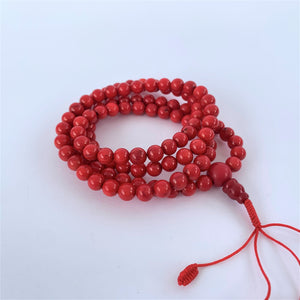 prayer beads mala 108 beads red coral coiled
