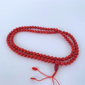prayer beads mala 108 beads red coral open