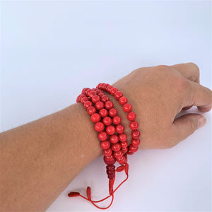 prayer beads mala 108 beads red coral scale